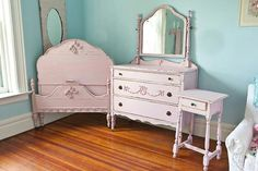 Vintage chic furniture with distressed pink coloring