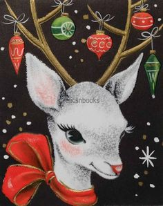 #2045 50s Mid Century Deer w/ Tree Ornaments-Vintage Christmas Card-Greeting   eBay