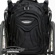 The Slice Wheelchair Backpack 3 spacious storage compartments: Handy front pocket, and a larger zippered pocket behind it. And you have a large zippered main compartment witch is wide open with a pocket sleeve on the inside-back. Very stylish and modern designed just for wheelchairs. CLICK HERE http://www.wheelchairgear.com/product/the-slice-wheelchair-backpack/
