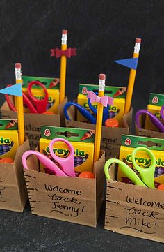 Teachers: Welcome your students back to school with these personalized school supply gift bags. Stock them with scissors, pencils and other essentials to get the school year off to a great start. - wholesale bags, all black bag, replica bags *ad Lehrer Back To School Party, 1st Day Of School, Beginning Of School, School Parties, School Fun, Middle School, High School, Back To School Gifts For Kids, School Hacks