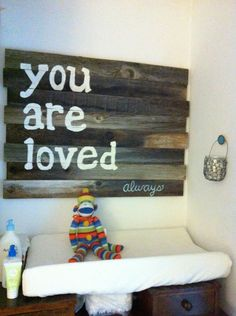 "Barn wood wall art - ""You are Loved"" - so perfect for the nursery! #walldecor"