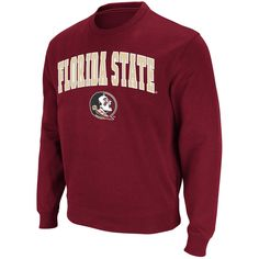 Men's Stadium Athletic Garnet Florida State Seminoles Arch & Logo Crew Pullover Sweatshirt