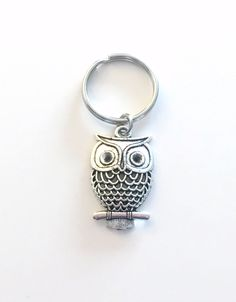 Owl Keychain, Owl Key Chain, Teacher's Keyring Jewelry, Nature Themed Party, Christmas Present Birthday Gift Filigree Charm pewter professor by aJoyfulSurprise on Etsy