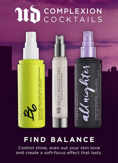 Control shine, even out your skin tone and create a soft-focus effect lasts all day and night. Find your perfect balance with these 3 must have UD skin products. Skin Products, Makeup Products, Makeup Tips, Beauty Makeup, Beauty Products, Hair Beauty, Makeup Spray, Makeup Setting Spray, Kiss Makeup