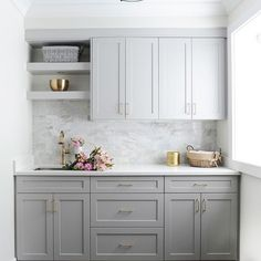 Gray Shaker Laundry Cabinets with Gray Marble Subway Tiles - Transitional - Laun. Gray Shaker Laundry Cabinets with Gray Marble Subway Tiles – Transitional – Laundry Room Laundry Cabinets, Shaker Cabinets, Kitchen Cabinets, Bathroom Cabinets, Bathroom Shelves, Bathroom Faucets, Bathroom Ideas, Grey Floating Shelves, Floating Shelves Kitchen