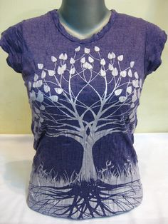 Womens Tree Of Life T-Shirt Silver on Grape