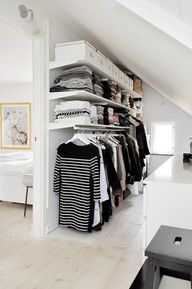 Add style and storage space to your bed room with these open closet designs nordic house - open closet design. I think I might use this idea when I finally turn the spare bedroom into a closet/dressing room. Attic Closet, Wardrobe Closet, Master Closet, Closet Bedroom, Open Wardrobe, Wardrobe Ideas, Closet Wall, Diy Bedroom, Ikea Closet