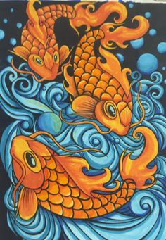 Carp Marker Value, Sean Manning color Carp, Tigger, Markers, Rooster, Disney Characters, Fictional Characters, My Arts, Fish, Paper