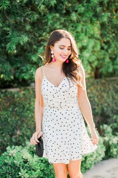 Click here to see this Spring trend on Maxie Elise Blog! If you are looking for chic spring trendy outfits that are casual for women, then this is the blog post for you! You will love the polka dot dress I am wearing for Spring, as well as the polka dot skirt and polka dot top! These Spring wardrobe pieces are white and black. This is a must have trend for the Spring time. There's nothing more fun than a polka dot dress outfit in the Spring season! #trends #dress #polkadot