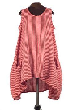 red and white striped linen lagenlook dress from secret lentil