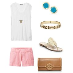 Cute outfit by ktanner02 on Polyvore featuring polyvore, fashion, style, T By Alexander Wang, Uniqlo, Jack Rogers, Tory Burch and House of Harlow 1960