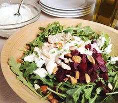 Grilled chicken and rocket salad with beets
