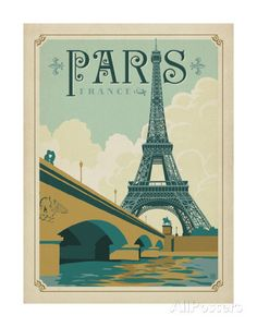Paris, France (Eiffel Tower Blue Sky) Posters by Anderson Design Group at AllPosters.com