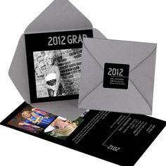 Photo Graduation Pocket Invitation -- Striped Success
