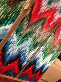 This one of a kind, original abstract artwork created with a mixture of oil paints and different textures. These large scale paintings offer a unique statement for any large wall. This style painting includes shades of red, orange, silver, blue, green, teal and white.  This is a signed original gallery wrapped heavy duty canvas that is 1.5 deep ****** This item is sold, but a very similar piece can be made upon request! Custom colors and sizes available. *******   gold, gold foil, gold…