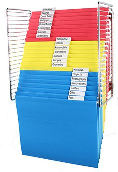 Are you limited in the amount of space you have in file drawers?  Do you like to be able to SEE what you have filed?  Check out Rackitfile.com  to learn about using your wall space for filing.