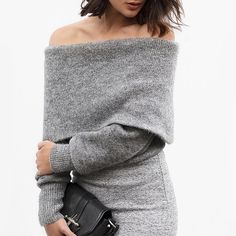An off-the-shoulder sweater and fitted pencil skirt give you instant luxe factor.