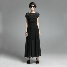 Chiffon Maxi Dress With Split.