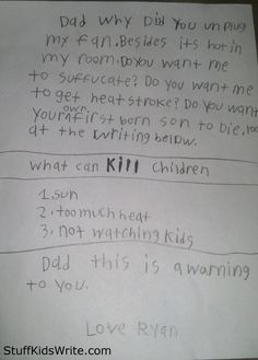 Watch yourself, Ryans Dad. Oh this so beyond adorable. He's going to be a very persuasive writer someday