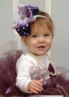 Baby Girl Big Hair Bow Purple Big Hair Bow by ChiclyHooked on Etsy, $15.00