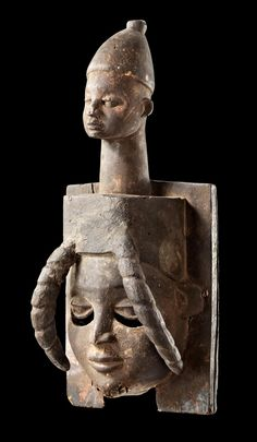 Africa | Mask from the Ibibio people of Nigeria | Wood, remains of polychrome paint