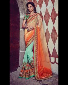 Orange Net Party Wear Saree 61355