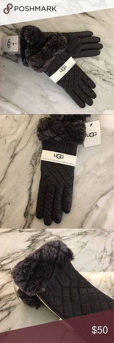 New Ugg Quilted Smart Gloves Never Used! New with tags. Ugg Brown quilted gloves with fur. Touch screen compatible! Accessories Gloves & Mittens