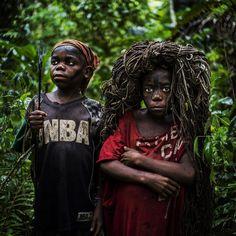 children during a net hunt in ituri | Photographer: Michael Christopher Brown #mbuti #congo