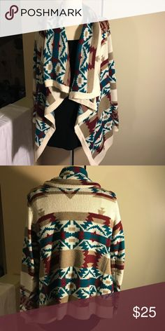 Final Price Drop‼️⬇️Windsor Tribal Cardigan Great soft printed sweater cardigan. Thicker material so keeps you warm. Big fold over in the front. Sweaters Cardigans