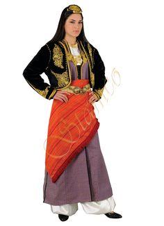 greek woman traditional dress - Google Search Greek Traditional Dress, Traditional Outfits, Dance Costumes, Greek Costumes, Greek Dancing, Costume Accessories, Greek Woman, Greece, Bell Sleeve Top