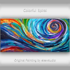 Huge original Spiral art Oil Painting Modern Impasto by elsestudio, $348.00