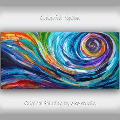 Arte de espiral original enorme lienzo textura por elsestudio
