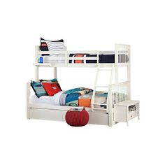 Caitlin Twin over Full Bunk Bed ❤ liked on Polyvore featuring home, children's room and children's furniture