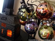 Halloween glitter ornaments... might need to make a Halloween tree next year!