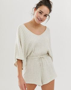ASOS DESIGN lounge ribbed short romper | ASOS