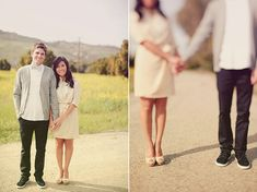 Natural engagement photos with a cute twist.