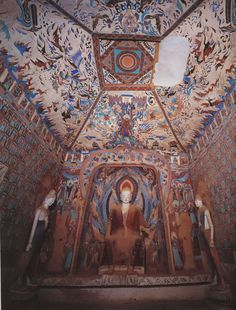 Mogao caves, near Dunhuang, Gansu, China, silk road Fresco, Tempera, Dunhuang, China Art, Buddhist Art, China Painting, Silk Road, Religious Art, Ancient Art