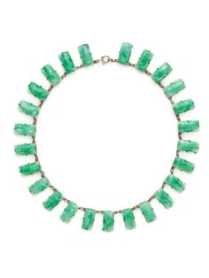 Czech Carved Green Glass Rectangle Station Necklace by House of Lavande on Gilt.com