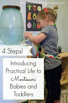 Montessori babies and Montessori toddlers love practical activities. These sorts of activities help to foster independence and make them an active member of the household. Here are 4 steps to introduce practical life activities babies and toddlers in your home. #ParentingToddlers