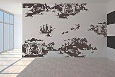 Oversized giant neverland PETER PAN never never land flying childrens nursery vinyl decor wall mural decal silhouette on Etsy, $227.19