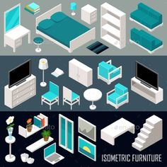 Isometric Furniture Set  - Buildings Objects
