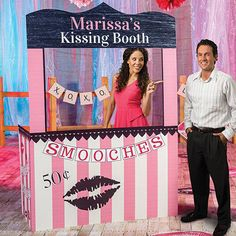 Our Love Kissing Booth has a romantic pink stripe design, a brown heart border and several kiss marks. This cardboard kissing booth will be personalized.