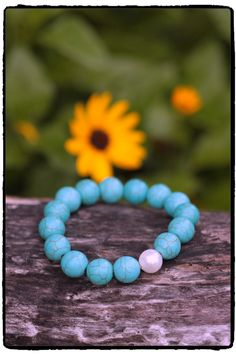 12mm Turquoise And Pearl Stretch Bracelet by ShortDogJewelry