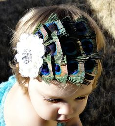 For all of you with little girls - this is spectacular! peacock headband for a little girl