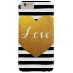 #simple - #Personalized Black and White Stripe Gold Heart Barely There iPhone 6 Plus Case