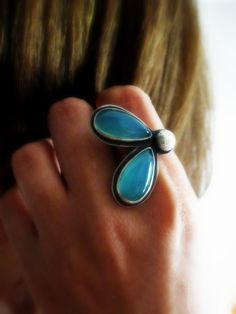 Chalcedony Ring Sterling Silver Statement Cocktail Blue by @Senobar MJ MJ, $330.00