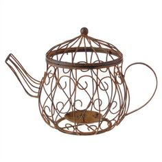 Wire Teapot Candle Holder