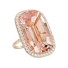Large cushion-shaped, color-change pink tourmaline cocktail ring in rose gold with pavé cognac diamond surround and basket. The pink tourmaline weighing carats and cognac diamonds weighing total carats. Designed by Paolo Costagli. Pink Jewelry, Jewelry Accessories, Jewelry Design, Morganite Ring, Pink Ring, Pink Tourmaline, Diamond Are A Girls Best Friend, Gigi Hadid, Cocktail Rings