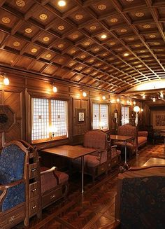 The Kyushu ~~ This is a luxury 'cruise train' where guests thoroughly enjoy the ride. This is the dining area on the Kyushu. This train's lounge car features a bar and grand piano!