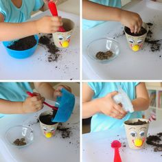 Grow your own grass head in an adorable DIY pot.